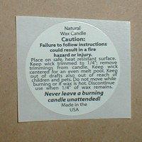 590010-100 - Natural Wax Caution Label 1.25  inch Round - 100 Pack - FREE SHIPPING