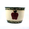 540025 - Heritage Pottery - 3 Inch Salt Pot - Green and Cream with Red Apple