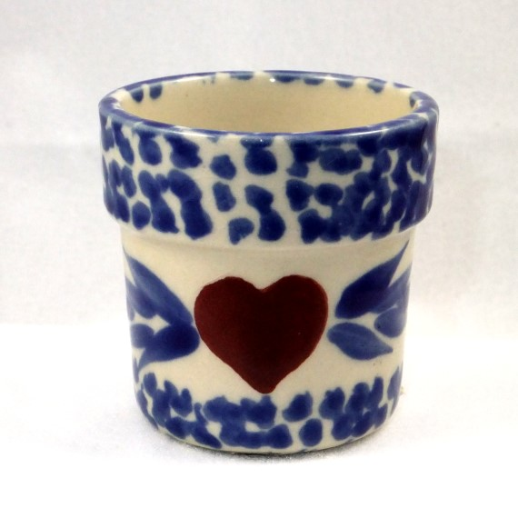 540020 - Heritage Pottery - Votive Cup - Cream and Blue with Red Heart