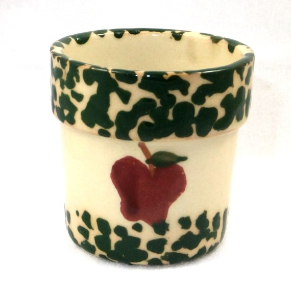 540021 - Heritage Pottery - Votive Cup - Cream and Green with Red Apple