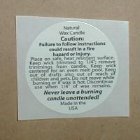 Natural Wax Caution Label 1.25  inch Round